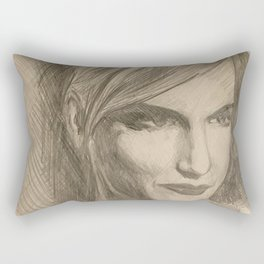 Home Decor Drawing Woman Digital Art Bedroom Decoration Original Wall Print Rectangular Pillow