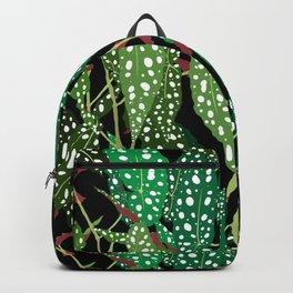 Polka Dot Begonia Leaves in Black Backpack