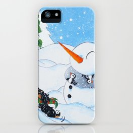 A Pup and His Snowman iPhone Case