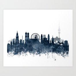 Munich City Skyline Blue Watercolor by Zouzounio Art Art Print
