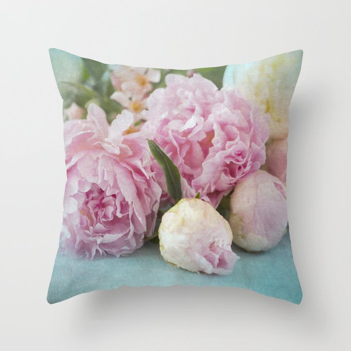 Soft Pink Peonies Throw Pillow