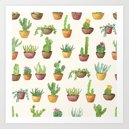 Potted Succulents and Cacti Art Print
