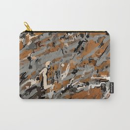 Gray, Black and Caramel Abstract Carry-All Pouch