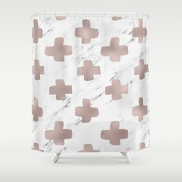 Rose gold marble - scandinavian cross Shower Curtain