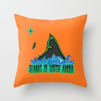 south africa Throw Pillows featuring Sharks Of South Africa by Chefleclef