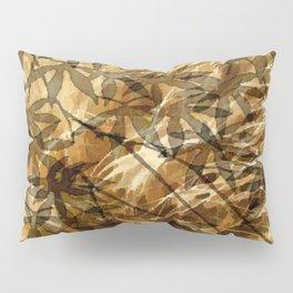 Golden Leaf Shadows Abstract Pillow Sham