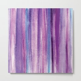 Purple Watercolor Stripes - Abstract Metal Print