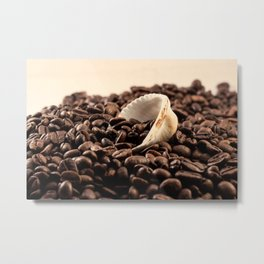 Shell on coffee Metal Print