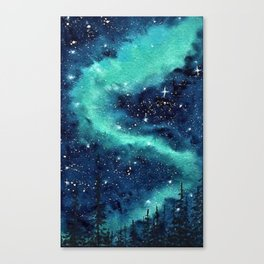 Northern Lights galaxy watercolor landscape painting Canvas Print