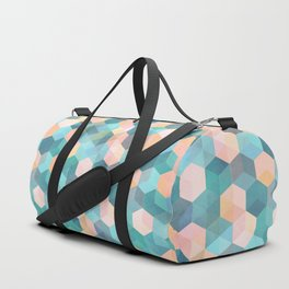 Child's Play 2 - hexagon pattern in soft blue, pink, peach & aqua Duffle Bag