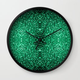 Beautiful Emerald Green glitter sparkles Wall Clock