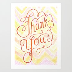 Thank you - hand lettered on chevron Art Print