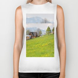 Bucolic spring meadow and house Biker Tank