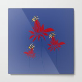 Red & yellow flowers on blue background Metal Print