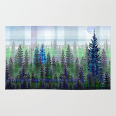 Nature Reflected Plaid Pine Forest Rug