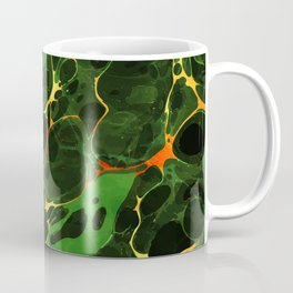 Abstract Painting - Marbling Art 08- Fluid Painting - Green, Gold Abstract - Modern Abstract Coffee Mug