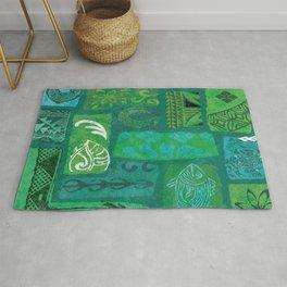 Vintage Hawaian Tapa Print Rug