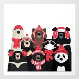 Bear family portrait: winter edition Art Print