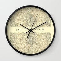 joy division Wall Clocks featuring joy division by ░░░░░░░░░░░░
