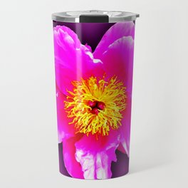 Pink flower on a wintry background Travel Mug