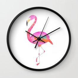 Flamboyant flamingo - bright watercolour painting Wall Clock