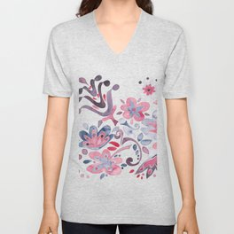 Redblue flowers Unisex V-Neck