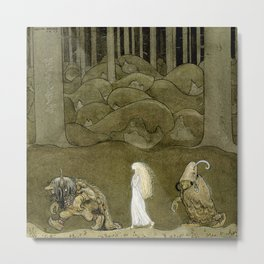 """The Princess and the Trolls"" Watercolor by John Bauer Metal Print"