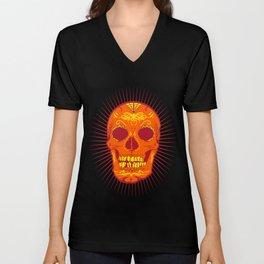 Orange Calavera Skull  Unisex V-Neck