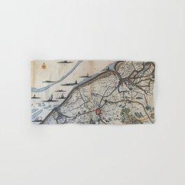 Vintage Map of Bruges Belgium (17th Century) Hand & Bath Towel