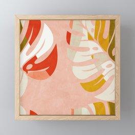 shapes leave minimal abstract art Framed Mini Art Print
