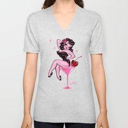 Cherry Martini Girl Unisex V-Neck