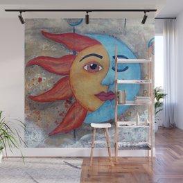 Soluna, Sun and Moon Mixed media Painting Wall Mural