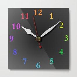 clock Chalkboard Metal Print