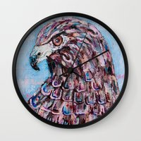 hawk Wall Clocks featuring hawk by Brittany Rae