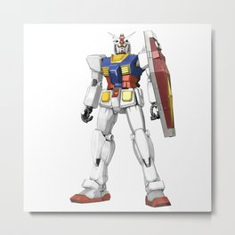 White Mobile Suit Metal Print
