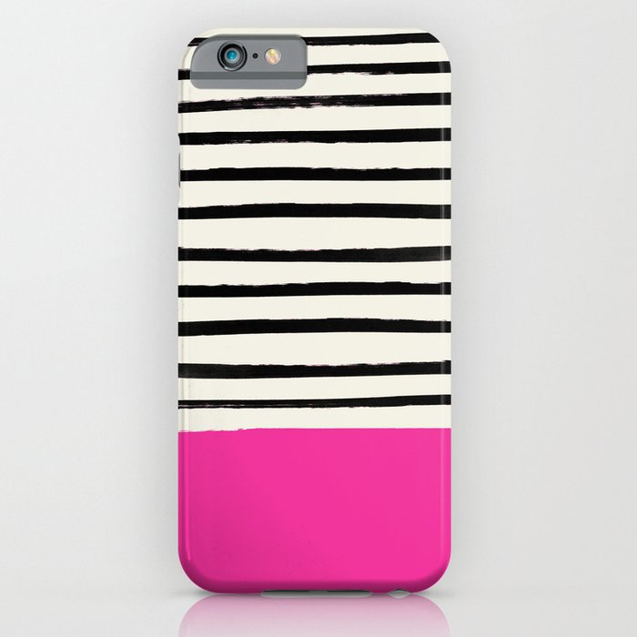 Bright Rose Pink x Stripes iPhone Case