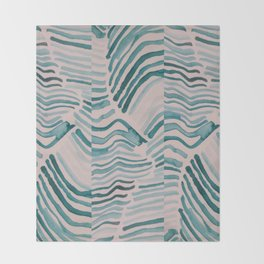 Trippy Turquoise Waves Throw Blanket