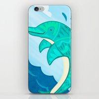 dolphin iPhone & iPod Skins featuring Dolphin by Claire Lordon