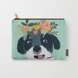 PUPPY DOG WITH FLOWERS Carry-All Pouch