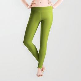 Cheap Solid Bright Avocado Green Color Leggings