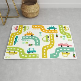 Cars, cars, cars! Watch out! Busy life in the city. Wall decor. Nursery abstract art.  Rug