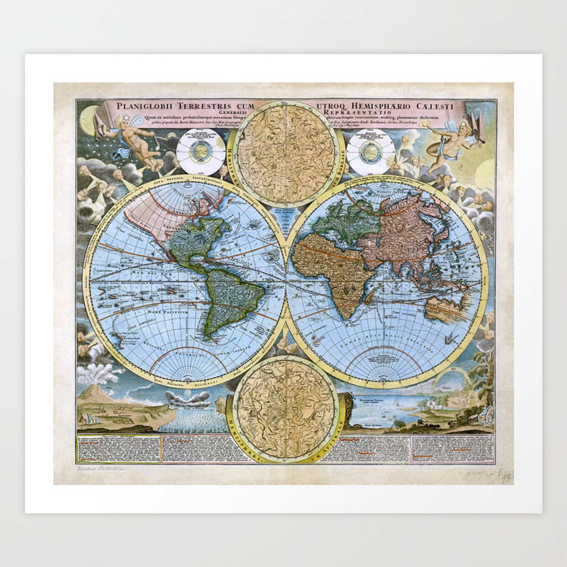 World map wall art 1600 dorm decor mappemonde Art Print