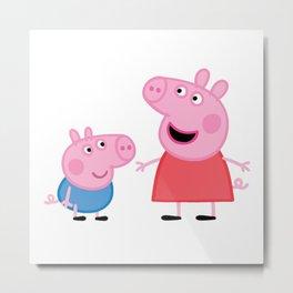 Peppa Pig and George Pig Metal Print
