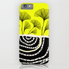 ginko biloba leaves in yellow and black iPhone Case