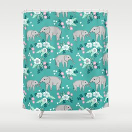 Elephants cute pattern florals good luck flowers and baby animals Shower Curtain