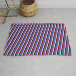 Dark Orchid, Grey, Dark Red & Teal Colored Lined/Striped Pattern Rug