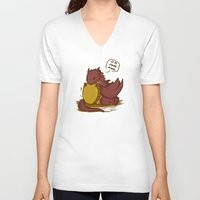 smaug V-neck T-shirts featuring Chibi Smaug the Dragon Om nom nom by BlacksSideshow