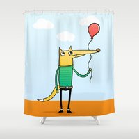 baloon Shower Curtains featuring Fox & Baloon by Pedro Vilas Boas