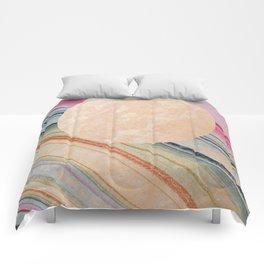 Rainbow Geode Moon Comforters
