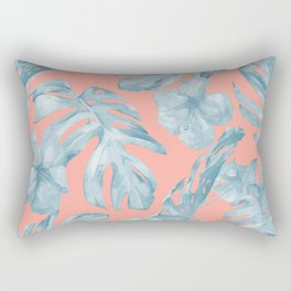 Island Life Pale Teal Blue on Coral Pink Rectangular Pillow